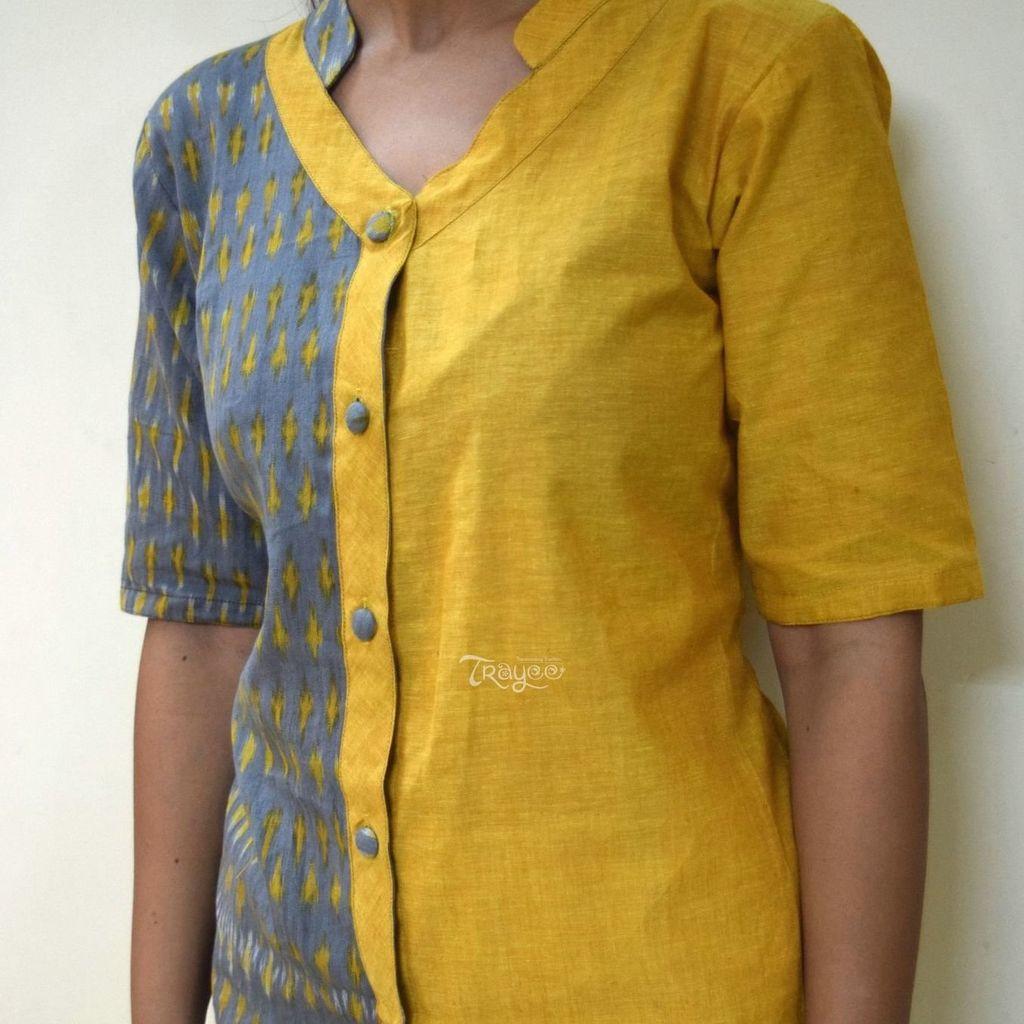 Trayee Cotton Yellow Ikkat Button Down Shirt