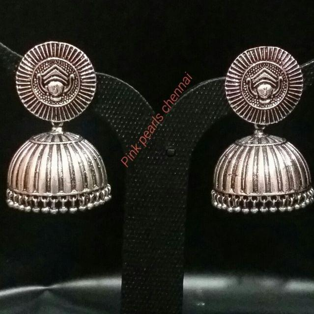 Pink Pearls Oxidised Silver Jhumka with Face Stud