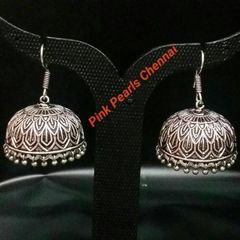 Pink Pearls Oxidised Silver Jhumka with Hook