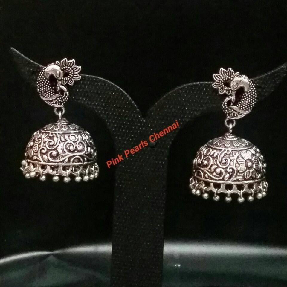 Pink Pearls Oxidised Silver Jhumka with Peacock Stud
