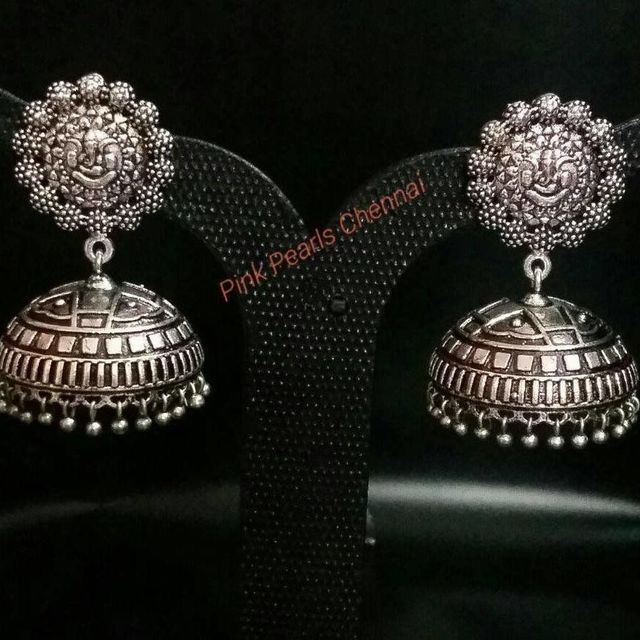 Pink Pearls Oxidised Silver Jhmuka with Ganesh Stud