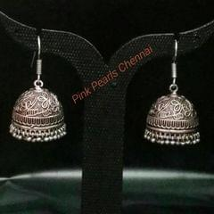 Pink Pearls Oxidised Silver Flower Jhumka with Hook