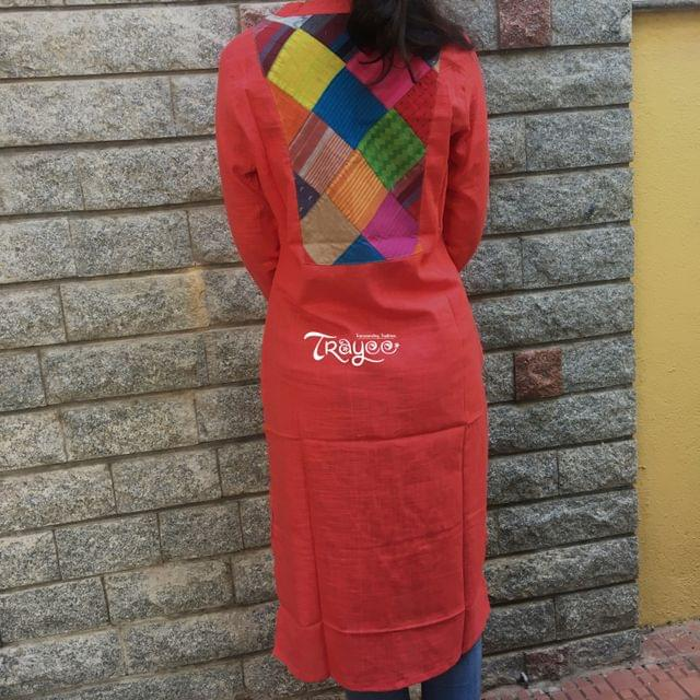 Trayee Cotton Kurta with Back Patch