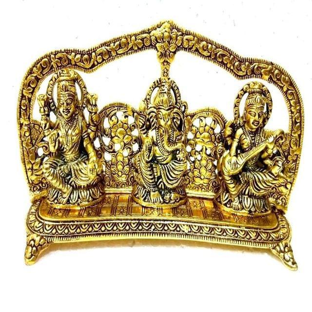 Smile Decors White Metal Lakshmi Ganesh Saraswathi Idol- Gold Finish