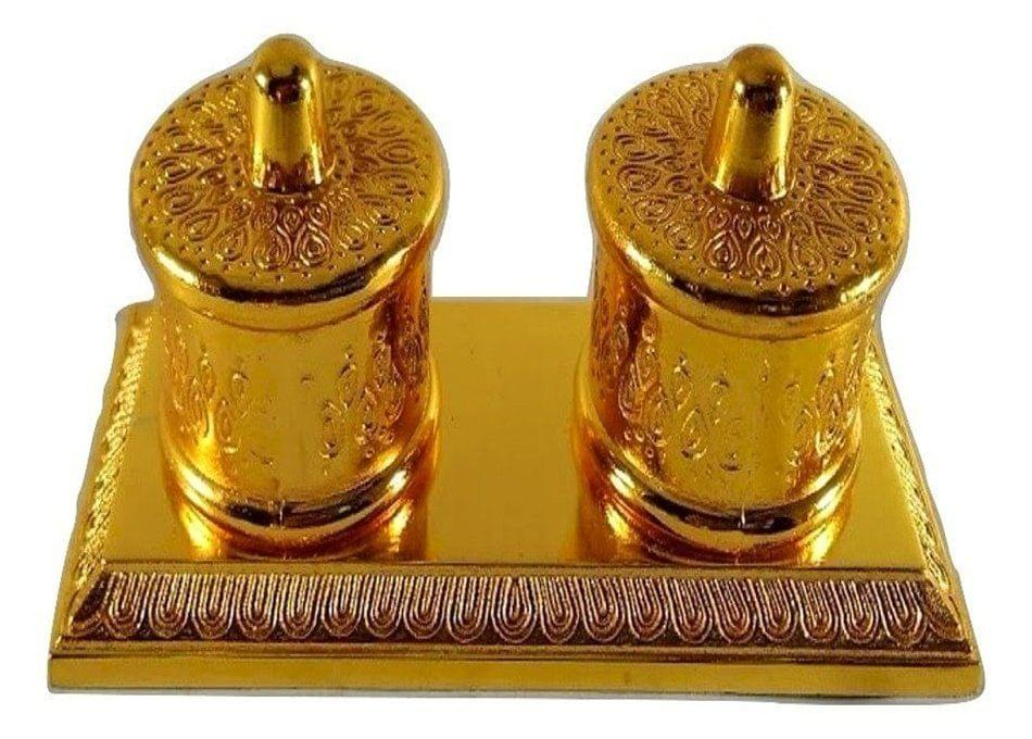 Smile Decors Metal Engraved Haldi Kumkum Gold Box Double - From Pack of 10