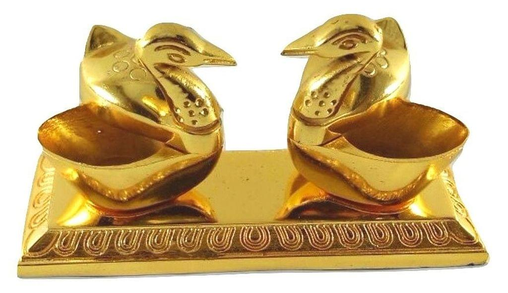 Smile Decors Gold Finish Double Duck Haldi Kumkum Box