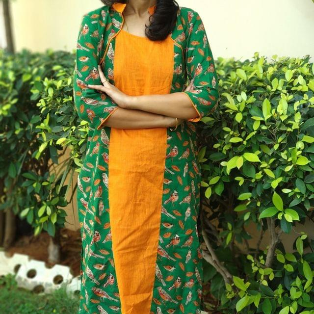 Trayee Green and Orange Kalamkari Kurta