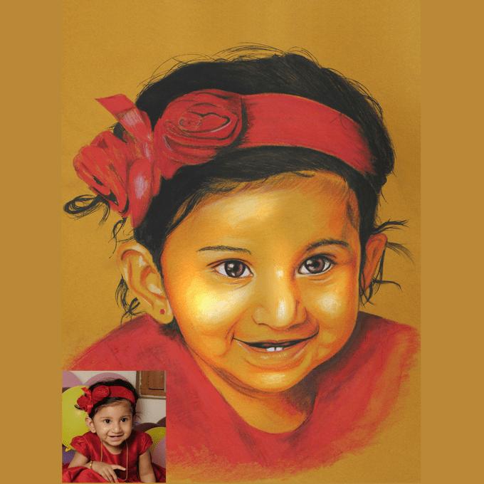Kadaiveedhi Coloured Pencil Painting of Little Girl