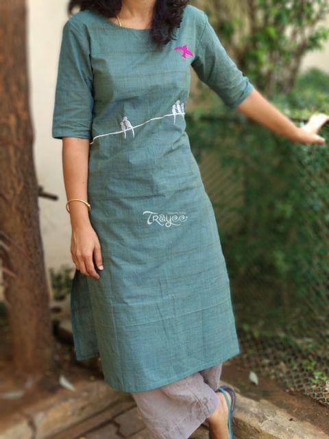 Trayee Green Cotton Kurta