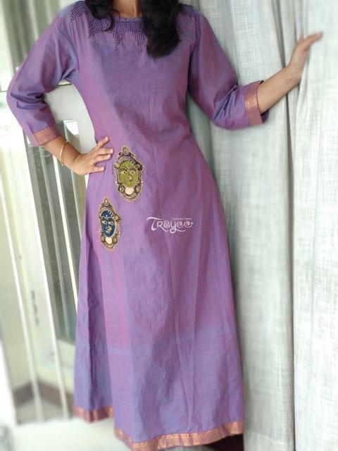 Trayee Lavendar Mangalagiri Embroidered Kurta/Dress