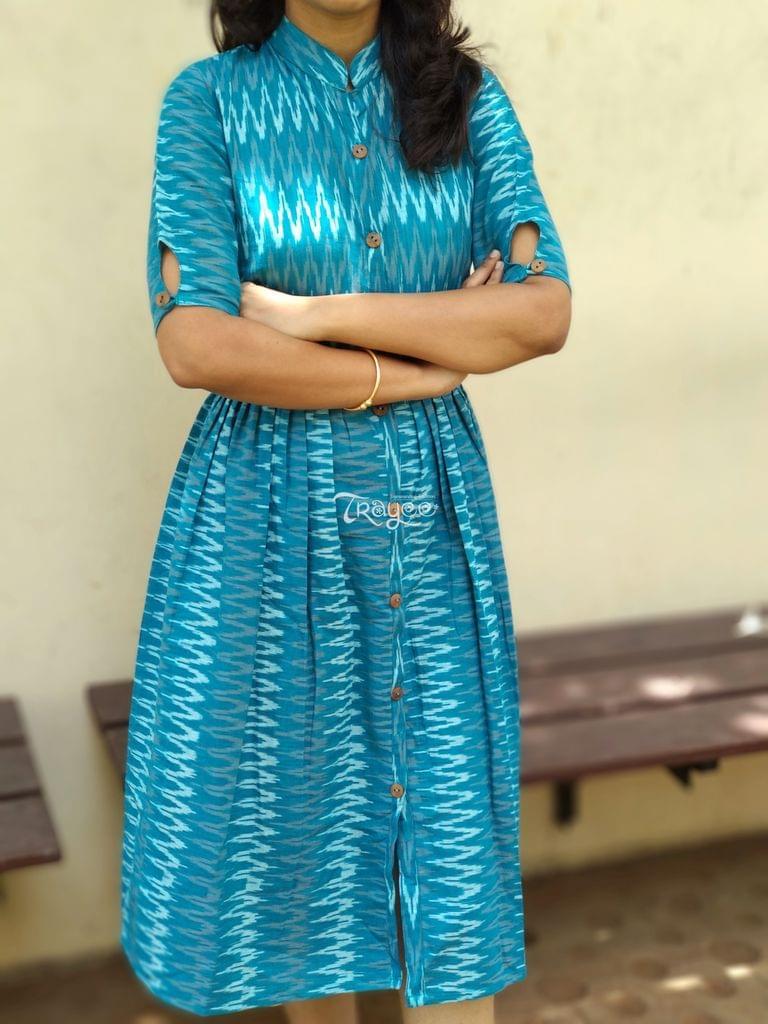 Trayee Blue Ikat Pleated Dress/Kurtha