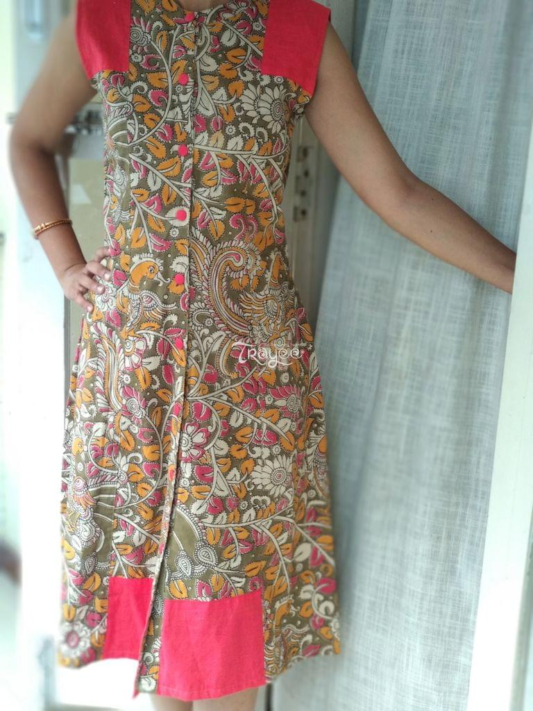 Trayee Green Cotton Kalamakri Dress/Kurta