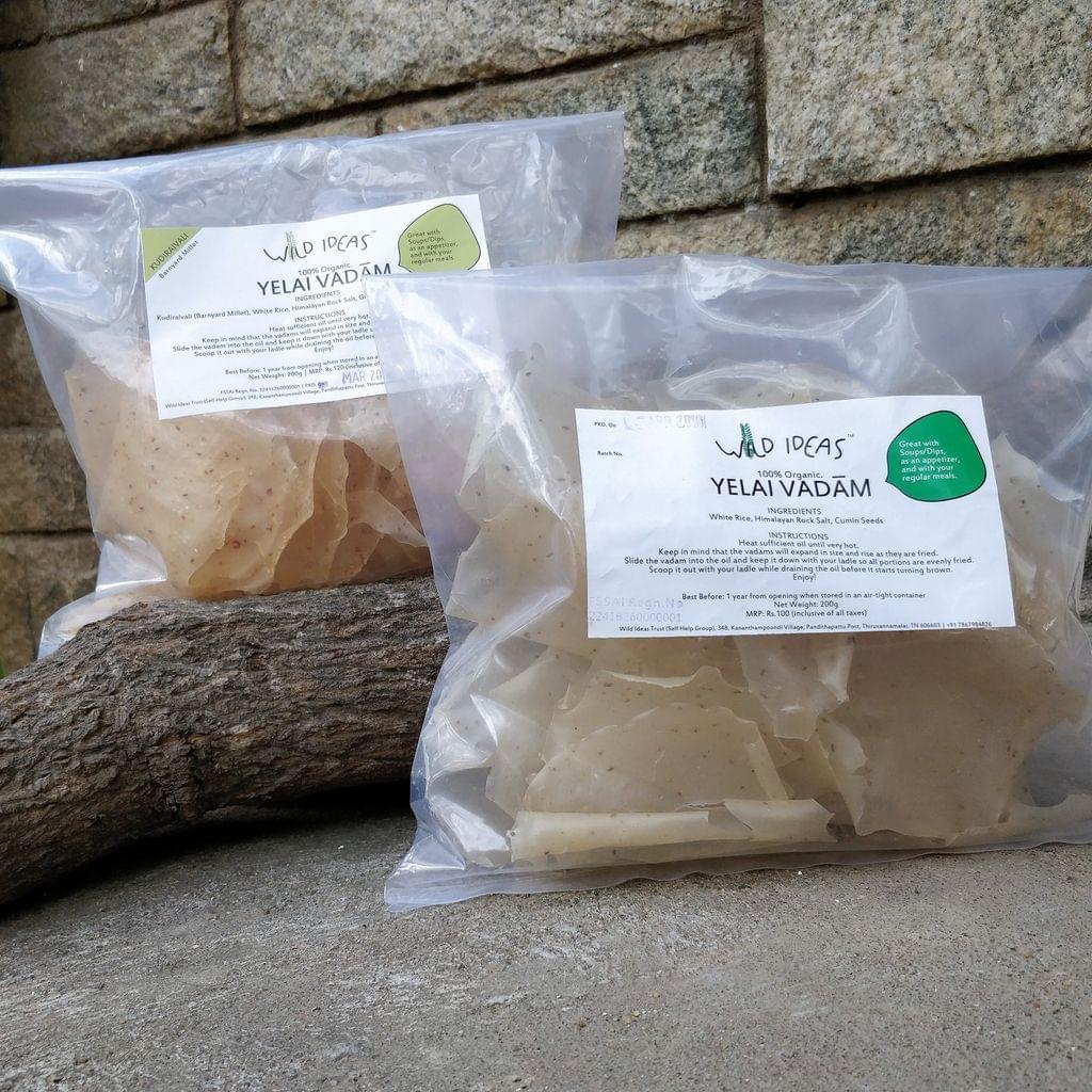 Wild Ideas Organic Yelai Vadam - White Rice and Kudiraivali (Barnyard Millet) Combo