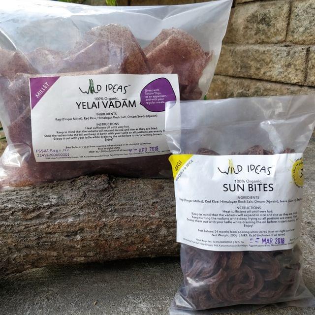Wild Ideas Organic Vadam - Ragi (Finger Millet) Yelai Vadam and  Ragi (Red Chilli) Vadam