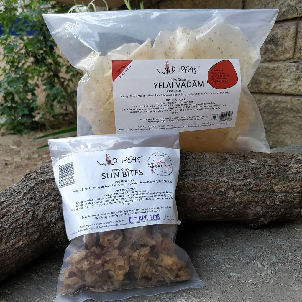 Wild Ideas Organic Vadam - Varagu (Kodo Millet) Yelai Vadam and  White Rice (Rice Red Chilli) Vadam