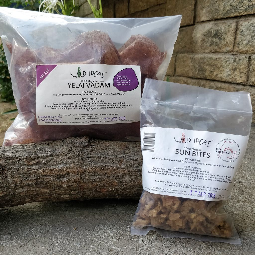 Wild Ideas Organic Vadam - Ragi (Finger Millet) Yelai Vadam and White Rice (Rice Red Chilli) Vadam