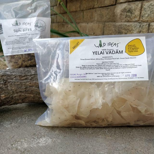 Wild Ideas Organic Vadam -  Thinai (Foxtail Millet) Yelai Vadaam and White Rice (Onion Green Chilli) Vadam