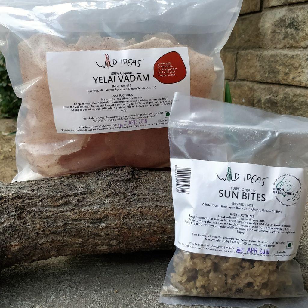Wild Ideas Organic Vadam - Red Rice Yelai Vadam and  White Rice (Onion Green Chilli) Vadam