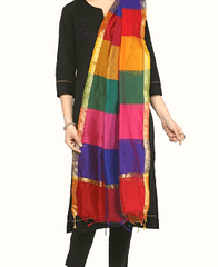 Kadaiveedhi Multicolour Silk Cotton Dupatta
