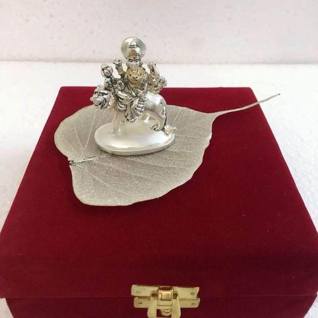Smile Decors Gold/Silver Plated Goddess durga Idol on Real Pipal Leaf
