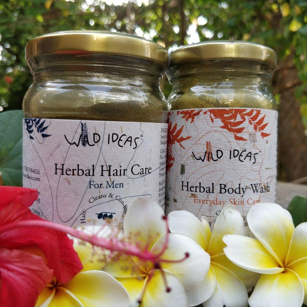 Wild Ideas Herbal Body Wash and Men's Hair Care Combo