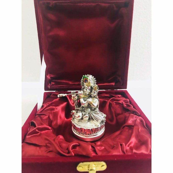 Smile Decors Silver/Gold Plated Radha Krishna On Lotus