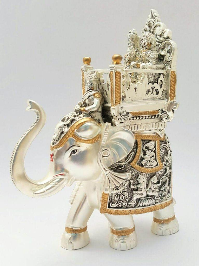 Smile Decors Silver & Gold Plated Antique Ambari Elephant