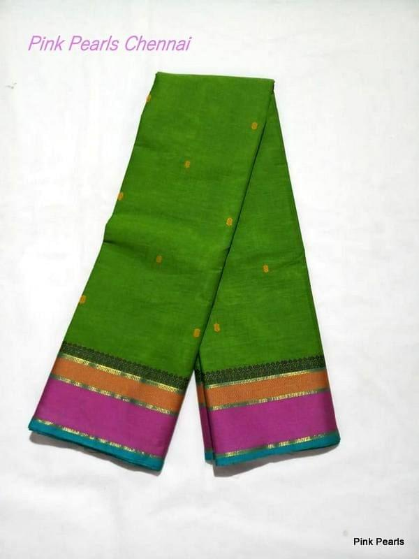Pink Pearls Light Green Cotton Handloom Saree