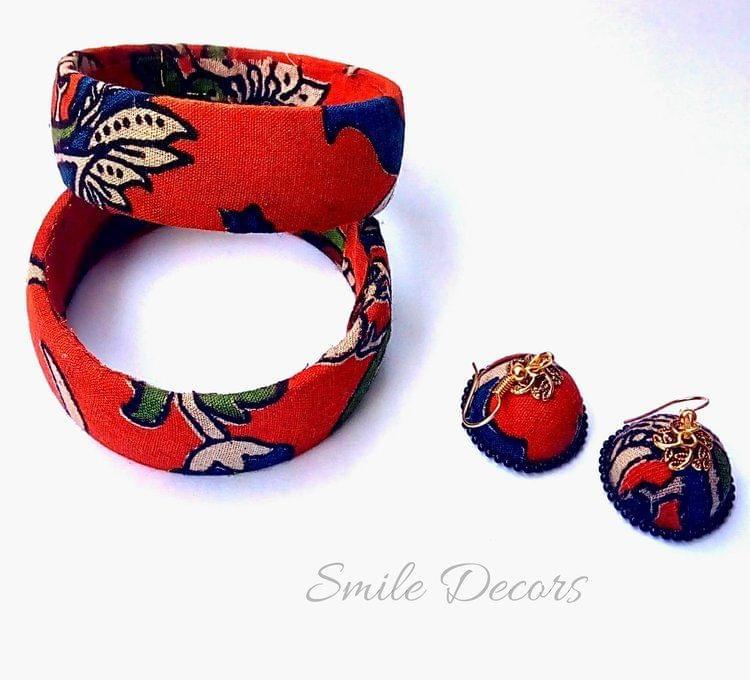 Smile Decors Orange Kalamkari Bangles & Earrings Combo