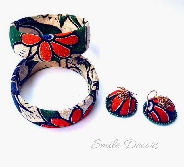 Smile Decors Floral Green Kalamkari Bangles & Jhumkas Combo