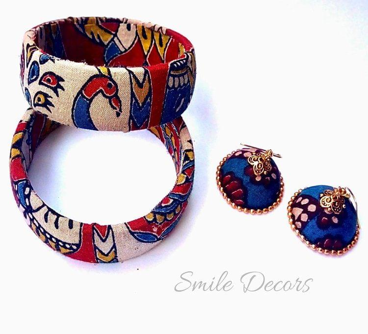 Smile Decors Kalmakari Bangles & Jhumkas with  Peacock & Elephant Motif