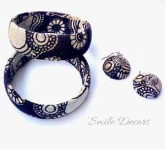 Smile Decors Black & White Kalamkari Bangles & Jhumkas Combo