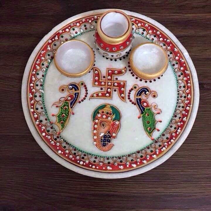 Smile Decors Marble Peacock Pooja Thali