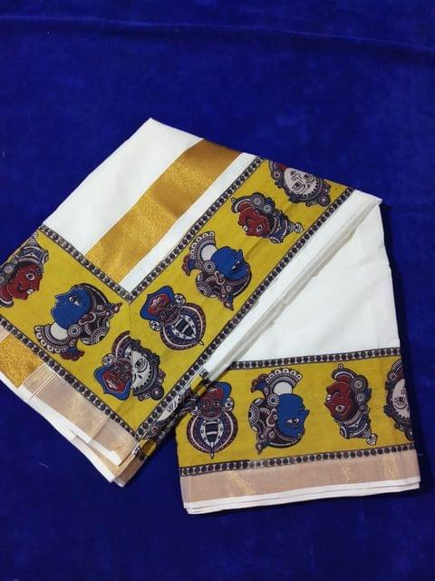 Pink Pearls Mustard Kalamkari Kerala Cotton Saree with Multi Faces