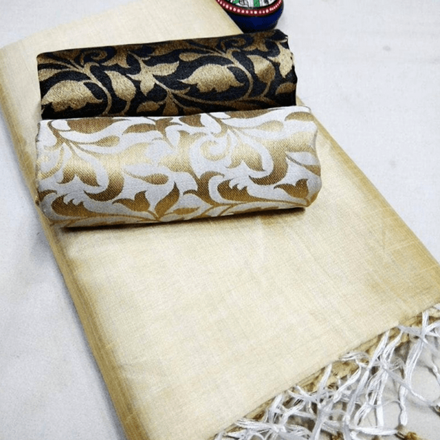 Pink Pearls Cream Silk Cotton Plain Saree With 2 Blouses