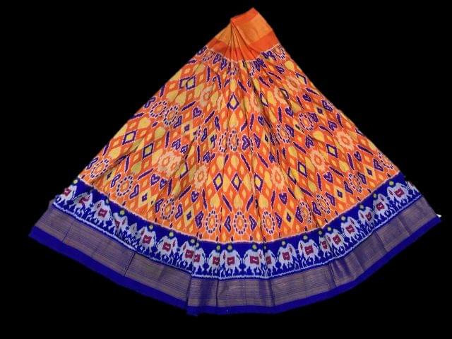 Little Bee Blue & Orange Ikkat Silk Unstitched Lehanga