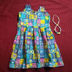 Aarika Blue Printed Cotton Frock