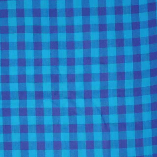 Aarika Blue Checked Cotton Running Material