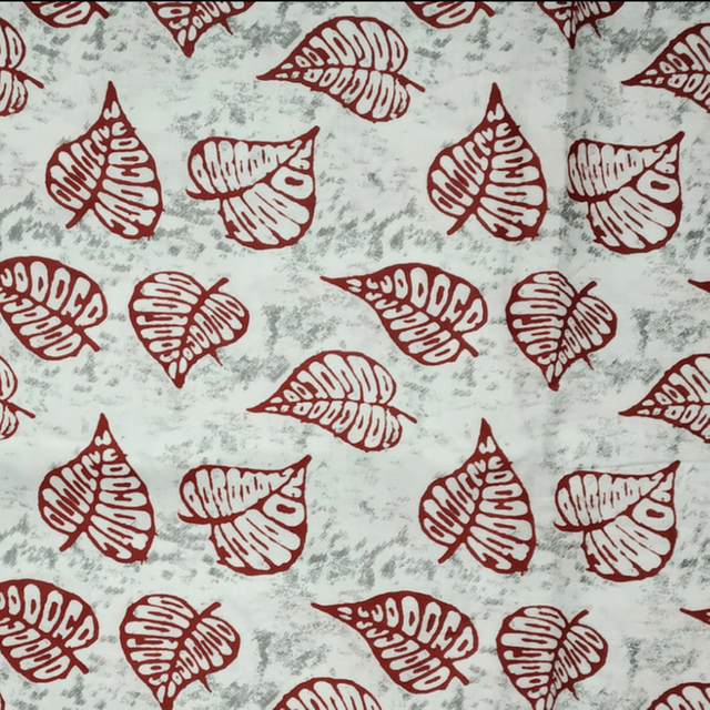 Aarika White Cotton Running Material with Leaf Prints