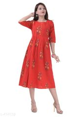 Aarika Red Cotton Printed Kurti