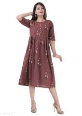 Aarika Brown Cotton Printed Kurti