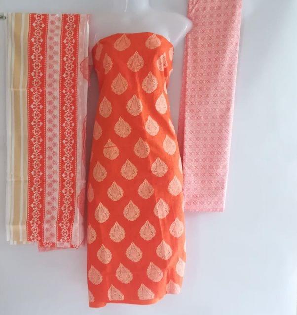 Aarika Orange Cotton Chudithar Material