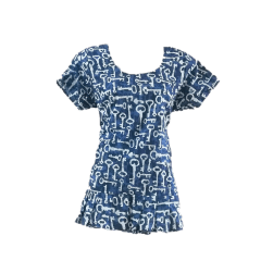 Aarika Blue Cotton Ruffle Short Top