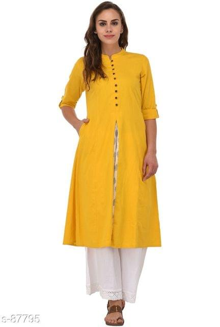Aarika Mustard Cotton High-Slit Mandarin Kurti