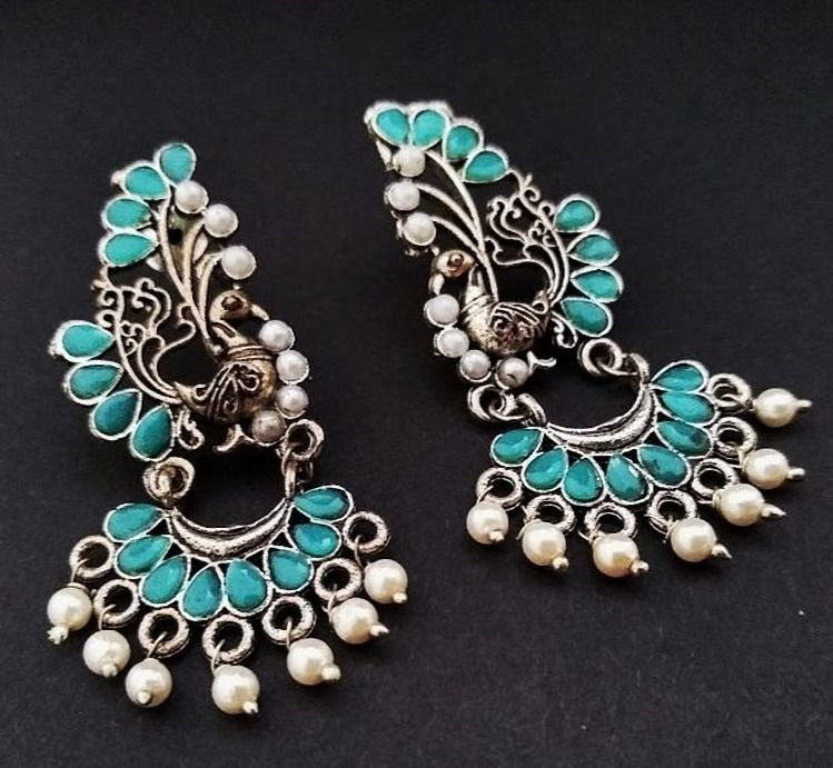 Smile Decors Turquoise Blue Peacock Earrings