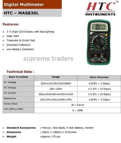 HTC Instrument Mas 830L Digital Pocket Multimeter Dmm