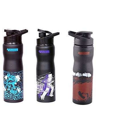 DUBBLIN SET OF THREE BOTLES STAINLESS STEEL  750 ML ADVENTURE BLUE PUR adventure_blue_purple_brown
