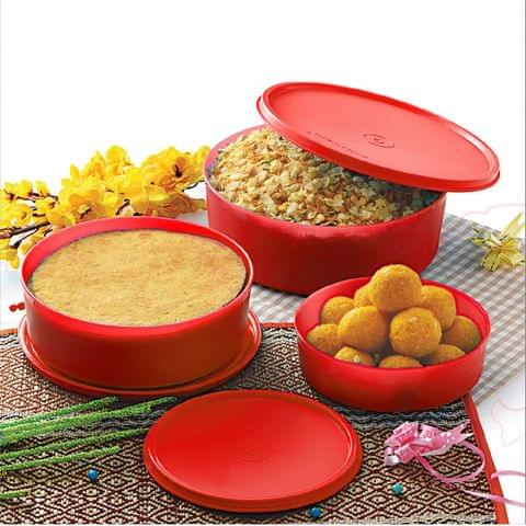 Cello Max Fresh Universal Polypropylene Container Set, 3-Pieces, Red A066(Red)