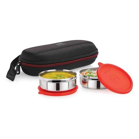Cello Max Fresh Super Steel Lunch Box Set, 2-Pieces, Red A101(Red)