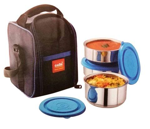 Cello Max Fresh Thermi Stainless Steel Lunch Box Set with Bag, 3-Pieces, Blue A104(Blue)